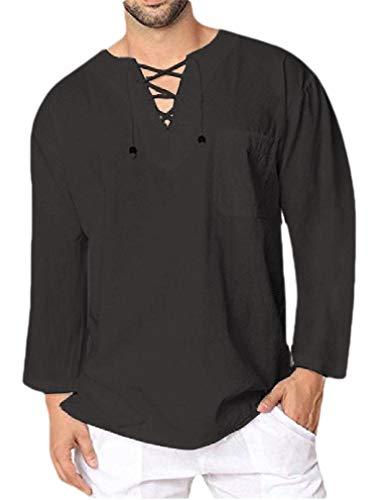 CuteRose Men V Neck Western Shirt Long-Sleeve Relaxed-Fit Blouse Tunic Tops Black L (Western Dressy Shirt)