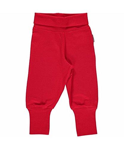 MAXOMORRA Baby Jungen Hose Rot Einfarbig BioBaumwolle Gots - Größe: 62/68 (Cuff Capri Hose Jeans)