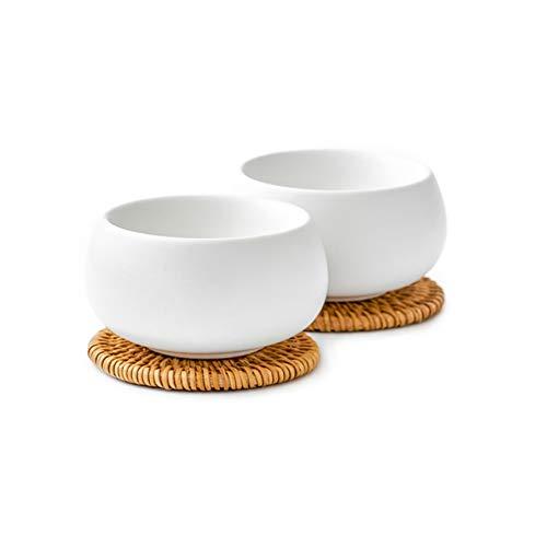 ZENS Set de thé Japonais,Tasses à Double parois avec des sous- Verres en rotin,Tasses en Forme de Galet Finition agréable en Mate, Lot de 2, 550ml,Blanc