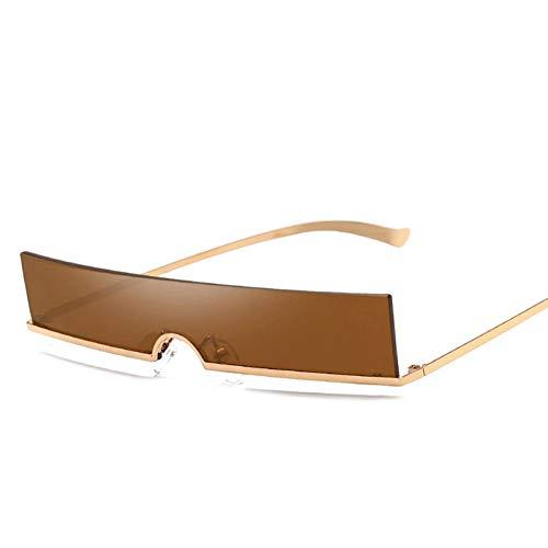 CHJKMN Männer Und Frauen Persönlichkeit Mini Rahmenlose Platz Coole Technologie Sinn Gelb Metallrahmen Farbe Objektiv Mode UV400