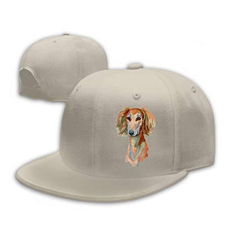 Xunulyn Classic Cotton Hat Adjustable Plain Cap, Baseball Cap Adjustable Size Curved Visor Hat Saluki Dog Hand Painted Isolated White Background wa Sand Color Saluki Hat