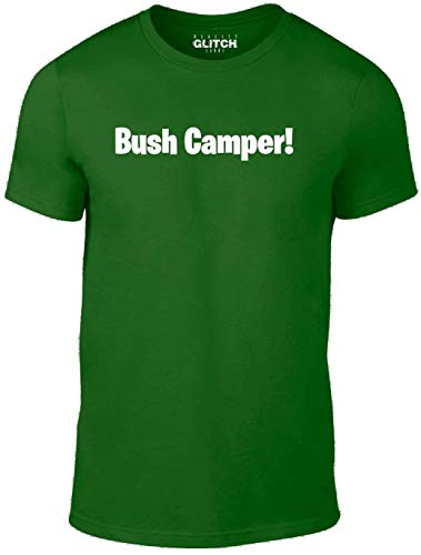 Reality Glitch Bush Camper Mens T-Shirt (Medium, Bottle Green) -