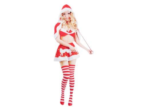 Costume Haut de Gamme ALSINO pour noel (wk-104), un déguisement de la Mère Noël composé de 3 pièces assortis: Jupette, soutien gorge et cape avec capuche. En tissue très doux le bas de la jupe le haut du top et la bordure de la capeline en fourure blanche cadeau sympa femme fille sexy taille unique S/M (34/40) lingerie Obsessive de Noel tenue original pas cher Santa Christmas joyeuse fête de fin d'année ambiance soirée fille romantique surprise amoureuse pour partenaire