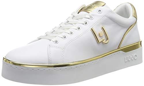 Liu jo shoes silvia 01 sneaker calf leather white, scarpe da ginnastica basse donna, bianco 01111, 40 eu