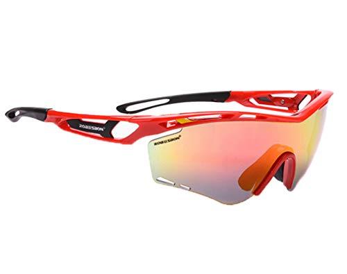 AmDxD TPU+PC Fahrradbrille Sandkontrolle Radsportbrille Sonnenbrille Outdoor Schutz Brille für Motorrad Fahrrad Helmkompatible, Rot