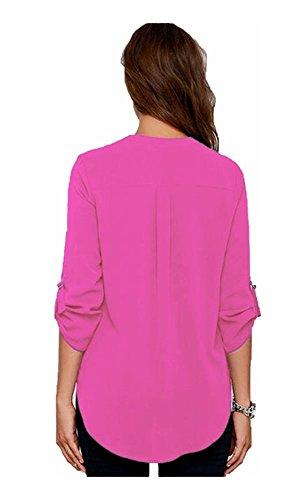Mela Proibita - Camisa blusa chiffon camicia donna maniche lunghe scollo a V estate t-shirt moda Fucsia
