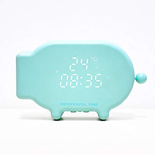 XBR Kinderwecker,Digital Erwecker Cartoon Cute Pig USB Charging Led Wecker Mit Temperaturanzeige Snooze Alarm Sound Und Lichtsteuerung Multi-Funktion