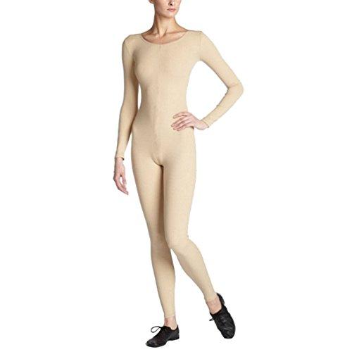 CHENGYANG Damen Erwachsene Fancy Kleid Lycra Zentai Unitard Bodysuit Halloween Catsuit Dancewear Beige S