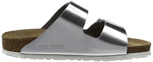 Birkenstock Arizona Leder Softfootbed, Mules Femme (Étroit) Argent (Metallic Silver Metallic Silver)