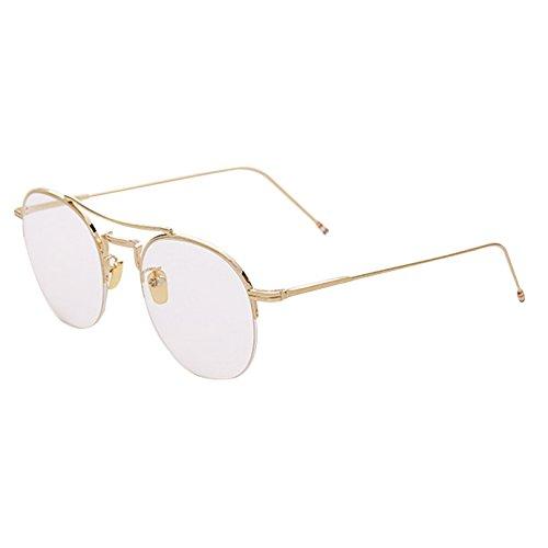 Milya Unisex Rund Halbbrille Metall Retro-60er Jahre Stil Brille Vintage Brille Ohne Stärke Metallrahmen Brillenfassung Pilot Brille Deko-Brillen