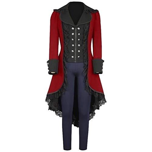 hongxin Damen Gothic Trenchcoat mit Asymmetrisch Saum Steampunk Smoking Halloween Renaissance Vampir Cosplay Kostüm Rüschen Plisse Jacke mit Knöpfen (Halloween-kostüme Mit Einem Trenchcoat)