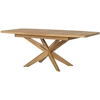 Esstisch ausziehbar eiche  Tisch ausziehbar Esstisch VELLE Eiche massiv Natur furnier: Amazon ...