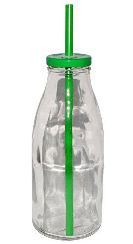 alles-meine.de GmbH 2 Stück _ Glasbecher / Glas mit Strohhalm & Deckel - Bunte Farben - Trinkbeche..