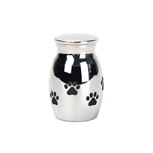 Kitchnexus - Urna de cremación para Mascotas, diseño de Huellas de Huellas pequeñas, de Acero Inoxidable, diámetro de Recuerdo Funeral 3 cm x 2 cm de Altura.
