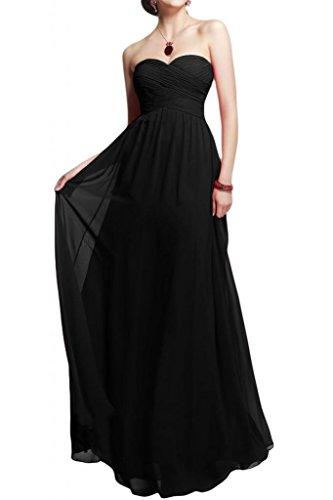 Toscane forme de mariée simple chiffon abendkleider-les demoiselles d'honneur party ballkleider ladies'fashion Noir - Noir