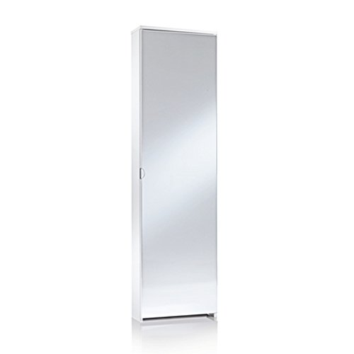 Demeyere Miguel A1 Scarpiera con Specchio, 50X18X178 H cm, Bianco, Melamina, 178x50x18 cm