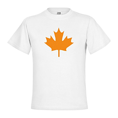 dress-puntos Kids Kinder T-Shirt Kanada Ahorn 20drp15t-kt00033-50 Textil white / Motiv neonorange Gr. 152/164