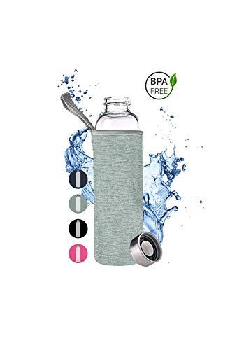PaWa Glasflasche - 550ml Trinkflasche für unterwegs - Wasserflasche für Sport - Freizeit mit Neopren Schutz und Gratis Ersatzdichtung (Grau)