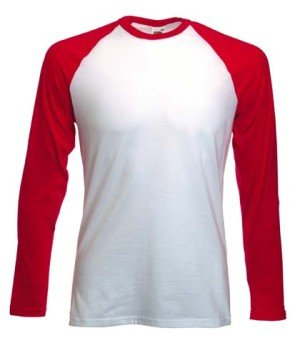 Fruit of the Loom Baseball Langarm ( Longsleeve ) T-Shirt S M L XL XXL Weiss - Rot,M -