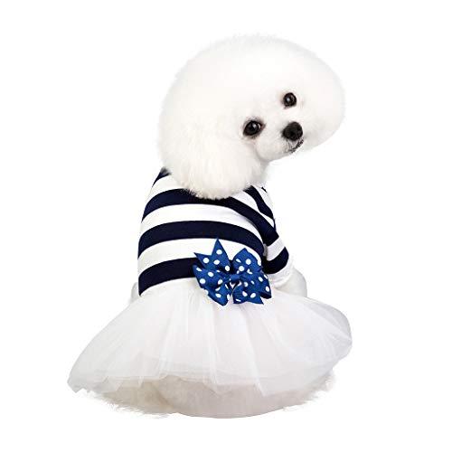 Robemon-Haustier-Prinzessin Kleid,Mode Sommer Gestreifte Hund Bekleidung Bow Tutu Tüll Hund Kleidung Rock für Feste Halloween Weihnachten (Halloween Tutus Für)