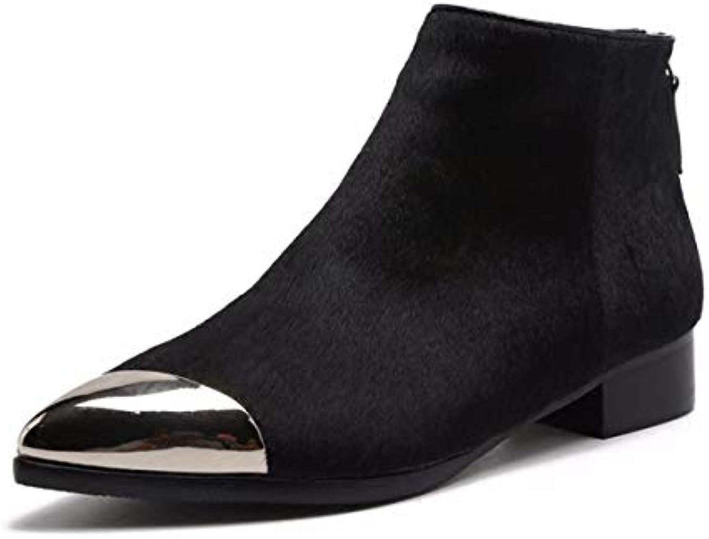 KOKQSX-Signora Fondo Piatto alla Moda Chelsea stivali Zip puntata Comodi ma dingxue 36 nero | Moda moderna ed elegante  | Uomo/Donne Scarpa