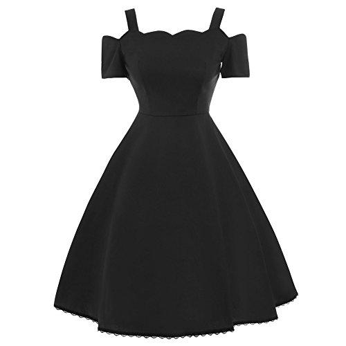 iShine Übergröße Kleid Damen Neckholder Rockabilly Off Schulter Kleid Faltenrock Partykleid Cocktailkleid Knielang (XL-5XL) Schwarz