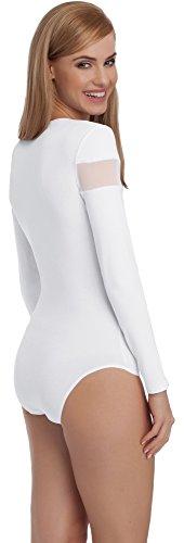Merry Style Damen Langarm Body BD108 Weiß