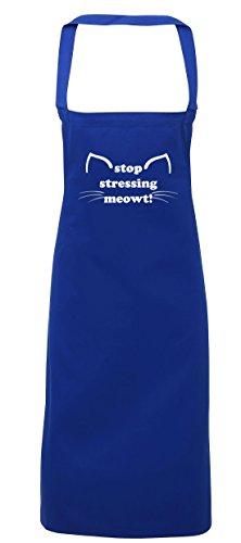 hippowarehouse Stop betonen Meowt. Kitty Ohren und Schnurrhaare Schürze Küche Kochen Malerei DIY Einheitsgröße Erwachsene, königsblau, Einheitsgröße