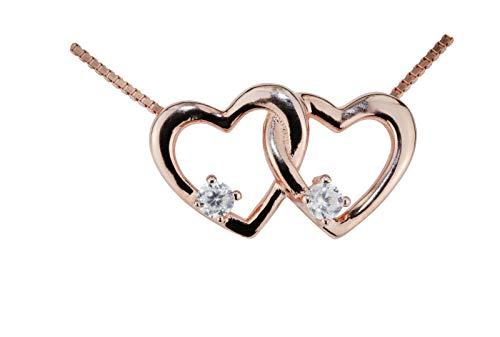 Fiterio Halskette für Damen - Edle Silberkette aus echtem 925er Sterling Silber - Silber Kette mit elegantem Doppelherz-Anhänger in Roségold - Silberschmuck in hochwertiger Geschenkbox - Damenkette