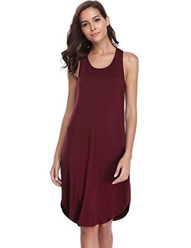 Aibrou Damen Einfarbige Nachthemd Ärmellose Racerback Nachtkleid Rundhals Nachtwäsche (XL, Weinrot)