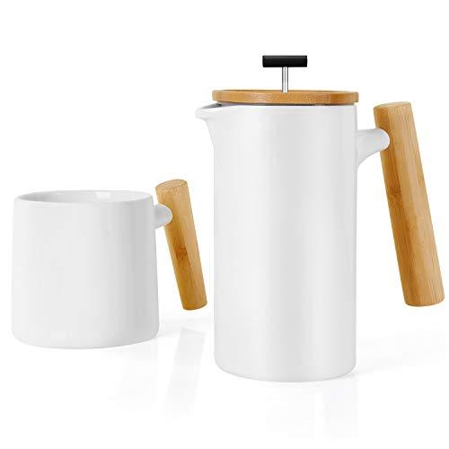 NEOCASA Keramik French Press/Kaffeepresse/Kaffeebereiter/Teebereiter/Kaffeezubereiter/Kaffeekanne (groß, 700ml) | mit Kaffeetasse (Weiß)