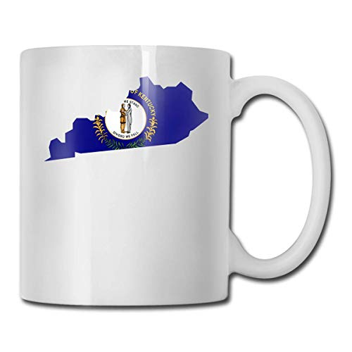 Daawqee Tazze Da Viaggio Coffee Mug Kentucky Mug Funny Ceramic Cup for Coffee and Tea with Handle, White