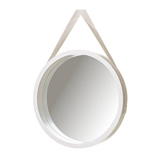 Espejo de Pared nórdico Blanco de PU para salón de 40 cm Fantasy - LOLAhome