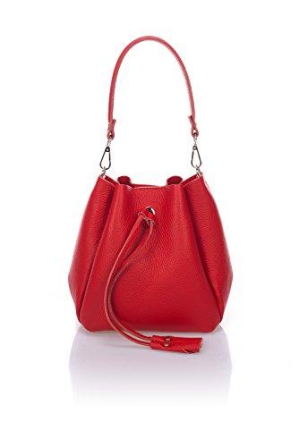 Laura Moretti - Borsa in pelle Dollaro (stile Bucket) Rosso