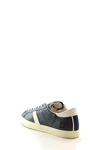 Sneaker D.A.T.E. Hill Low in pelle blu e camoscio bianco Blanc