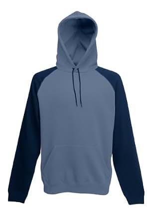 Fruit of the Loom Two Tone Contrast Baseball Hooded Sweatshirt Hoodie Steel Blue and Deep Navy XL