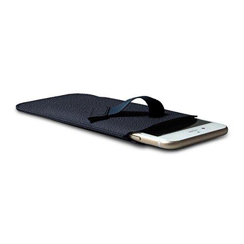 Lucrin - Etui mit Zunge für das iPhone 8/7/6 - Mausgrau - Ziegenleder Königsblau
