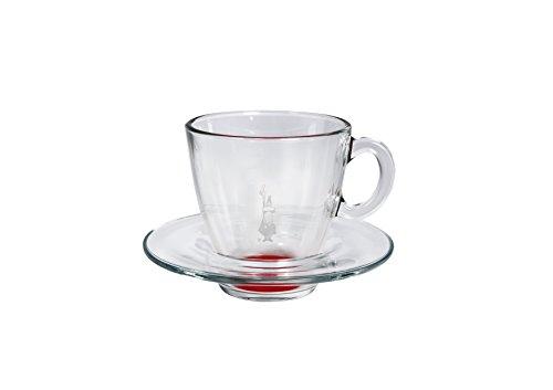 Cappuccino-Tasse und Untertasse, aus geblasenem Glas, Rot, 2-teiliges Set