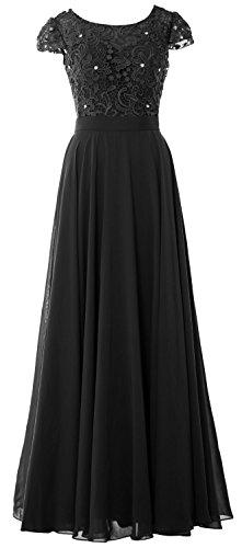 MACloth Women Cap Sleeve Mother of Bride Dress Vintage Lace Evening Formal Gown Schwarz