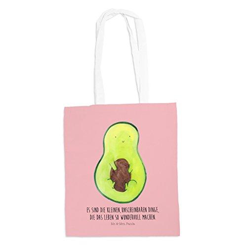 Mr. & Mrs. Panda Tasche, Umhängetasche, Tragetasche Avocado mit Kern mit Spruch - Farbe Rot Pastell -