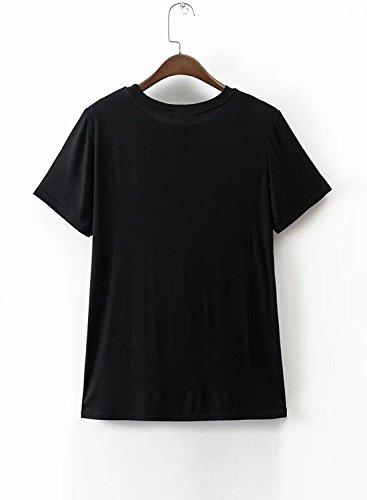 ACHICGIRL Women's Round Neck Short Sleeve Printed Pullover Tee Black