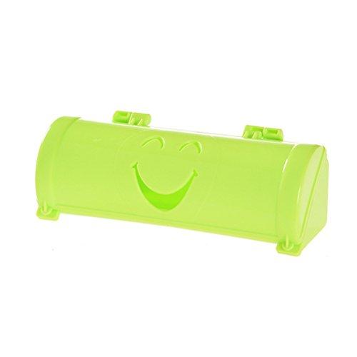 OUNONA Dispensador de bolsa de basura Dispensador montado en la pared Bolsa de basura Organizador Caja de almacenamiento con cara de sonrisa (Verde)