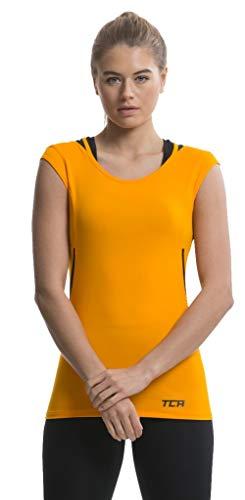 TCA Tech Quickdry Damen Laufshirt/Funktionsshirt - Ärmellos - Orange/Schwarz, XS -
