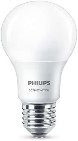 Philips Ampoule LED Standard SceneSwitch 3 ambiance, Culot E27, 8W équivalent 60W, Blanc Chaud 60W 2700K, Dépolie