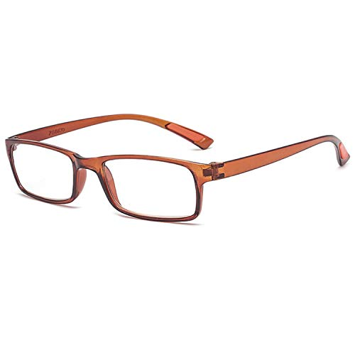 VEVESMUNDO Lesebrillen Damen Herren Sehr leicht Flexibel TR90 Rechteckig Groß Lesehilfe Sehhilfe Brille mit Stärke 10 15 20 25 30 35 40 (1 Stück Braun, 4.0)