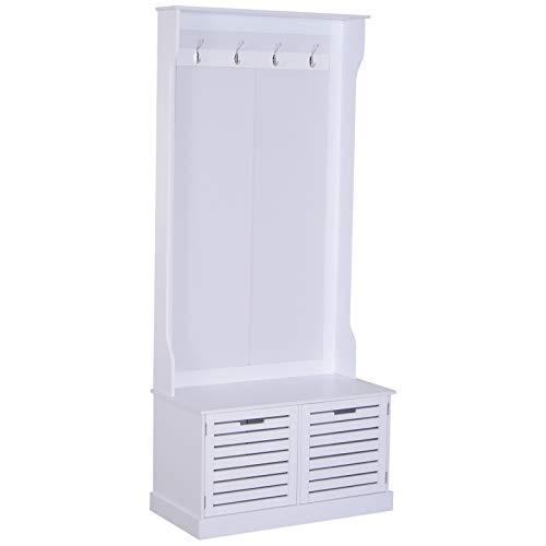 HOMCOM Garderobe Garderobenständer Kleiderständer mit Sitzbank Kleiderhaken MDF Weiß 80 x 40 x 180 cm