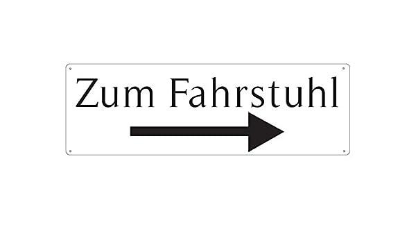 METALLSCHILD Blechschild Türschild ZUM AUFZUG RECHTS Hotel Elevator Fahrstuhl