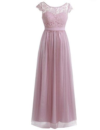 iEFiEL Damen Kleid festlich Spitzenkleid Cocktailkleid Ärmellos Elegante Hochzeit Kleider Lange Brautjungfernkleid Altrosa 38 (Herstellergröße: 8)