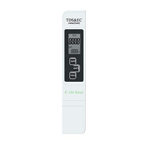 LifeBasis Tragbares TDS EC Temperatur Messgerät Wassertester Meter zur Überprüfung der Wasserqualität, 0-9990 µS/cm 0-9990 ppm, Thermometer Tester für Wasser MEHRWEG -