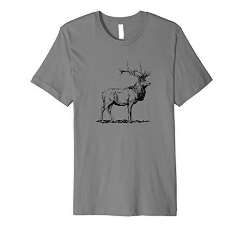 Hirsch T-Shirt handgezeichnet, Jäger Jagd, Geschenk, Rotwild